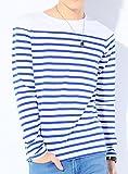 ホワイト×ブルー L (ディーゼルパワー)DIESEL POWER 美シルエット ボーダー Tシャツ メンズ 長袖 プルオーバ 胸ポケット カットソー トップス 長そで ボーダーティーシャツ マリンボーダー パネルボーダー ロンT ロングTシャツ 7分袖 7分 七分袖 七分 Uネック Vネック クルーネック ボートネック コットン ストレッチ メンズTシャツ Tシャツメンズ メンズカットソー カットソーメンズ 七分 カジュアル インナー ブランド オシャレ 白 S M L XL LL 春 夏 秋 冬 DSP20607006241