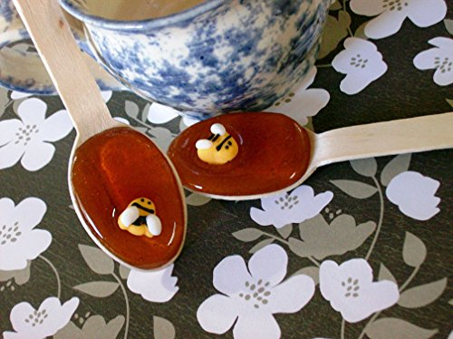 Gourmet Orange Blossom Flavored Honey Spoons (8) Beverage Sweetener Bumble Bee Embellished Cute