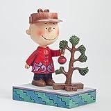 Jim Shore Peanuts Charlie Brown Putting Ornament on Christmas Tree Figurine