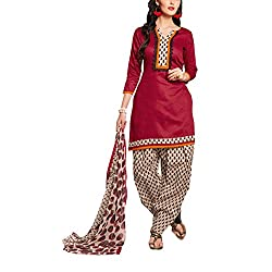 Destiny Enterprise Cotton Unstitched Red and Cream Color Patiyala Suit Dress Material for Women