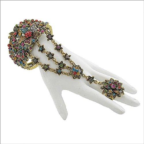 Stone Floral Design Ring & Bracelet #041786