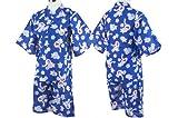 ガールズジュニア浴衣・甚平[なつまつり]総花柄プリントポップカラー甚平(作務衣)ブルー-(青)◇130
