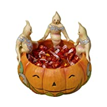 Jim Shore Heartwood Creek from Enesco Ghosts on Pumpkin Candy Dish Figurine 5.75 IN