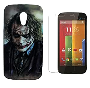 ZOOP Premium High Quality Rubberized Protective Printed Case Cover for Motorola Moto G2 -The joker (Batman) With Tempered Glass