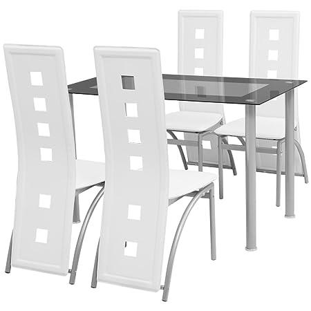 vidaXL Conjunto de comedor de cinco piezas blanco