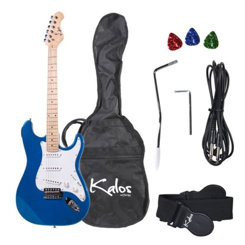 Kalos 1EG-MBL 39-Inch Electric Guitar with Gig Bag , 3 Picks, Strap, Amp Cable, and Tremolo Arm - Full Size - Blue