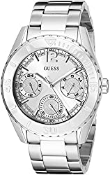 GUESS Women's U0633L3 Sporty Silver-Tone Watch with Multi-Function Dial