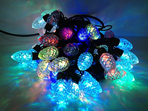 E-Age 5meters/16.4ft 50 Leds Pinecone Outdoor String Lights For Independence Day Party Garden Patio Lawn Fence Pergolas Christmas,110-240v