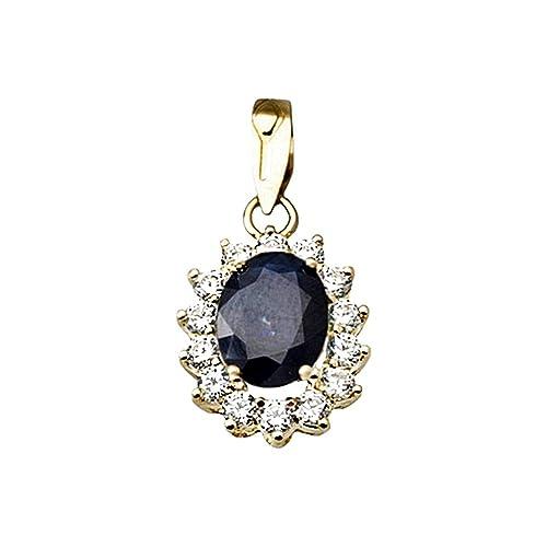 18k gold pendant 9x7mm oval sapphire center stone. zircons [AA4804]