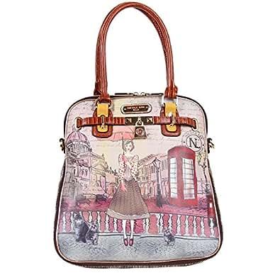 Paola Print and Faux Python Tote Bag, Telephone Booth: Handbags