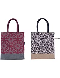 ABV Lunch Bag, Jute Bag, Multi Purpose Bag, Carry Bag, Gift Bag-Pack Of 2 Bag, (Printed Designer Bag)