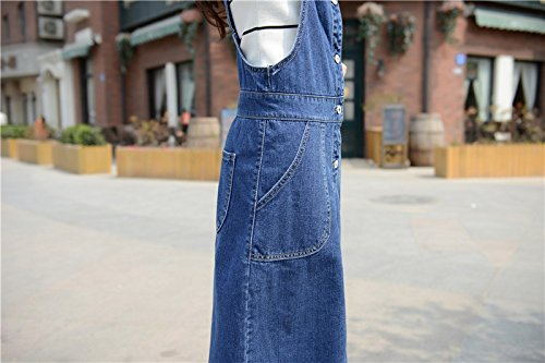 Skirt BL Women's Vintage Plus Size Blue Romper Denim Overall Jean Skirt Dress 3