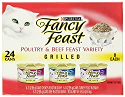 Fancy Feast Gourmet Cat Food, 3-Flavor Grilled Variety Pack (Beef, Turkey &amp; Chicken), 3-Ounce Cans (Pack of 24)