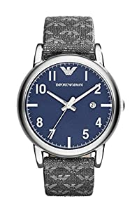 Emporio Armani AR1833 Blue Dial Grey Leather Men's Watch