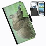 Hairyworm-Animals, Samsung Galaxy S3 Mini leather side flip wallet case cover for Samsung Galaxy S3 Mini phone