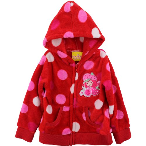 Strawberry Shortcake Girls 2 6X Polka Dot Fleece Hoodie Medium Red 4