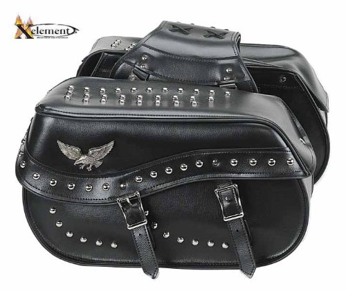 Waterproof Studded Eagle Double Buckle Classic Motorcycle Saddlebags