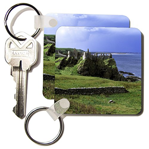 3Drose Llc 8 X 8 X 0.25 Dunluce Castle, County Antrim, Northern Ireland - Eu15 Rer0004 - Ric Ergenbright - Key Chains, Set Of 4 (Kc_82010_2)