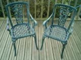 Metal Cast Aluminium Garden Carver Chairs x2 Rose Antique Green Verdigris