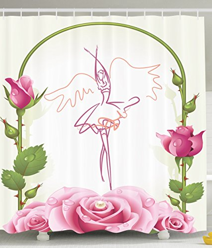 Shower Curtains for Girls Bathroom Decorations Ballet Dancer Gifts for Ballerinas Dance of Fairy Wings Theme Gazebo Roses Flowers with Floral Buds Decor Wreath Fabric Home Item, Pink Green White