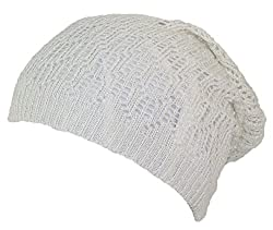 D&Y Women's Loose Shimmery Lightweight Ladder Stitch Knit Skull Cap (One Size) - Off White