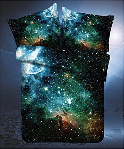 LELVA Galaxy Bedding Set Galaxy Duvet Cover Set Kids Bedding for Boys and Girls Teens Bedding Full Queen Size (1, Twin)
