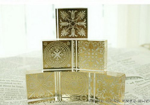 Wooden Square Decoden Stamp - 6 Pcs in 6 different flowers pattern rubber stamp