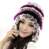 Starway0311 Women's Rex Rabbit Fur Hats Winter Ear Cap Flexible Multicolor by Leather Factory Outlet