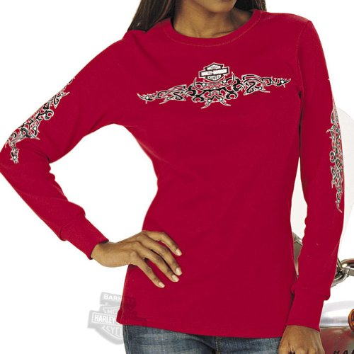 Harley-Davidson Womens Tribal Spark Red Long Sleeve Small