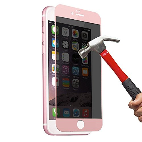 EVERMARKET 3D Full Cover High Transparent Privacy Anti Spy Tempered Glass Screen Protector Film for Apple iPhone 6 and 6s Plus 5.5 Inch - Rose Gold