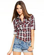 Rolled Sleeve Plaid Top
