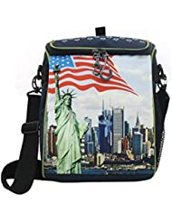 Shopaholic Wonders Of The World Featured Box Shaped 2 In 1 Bag-Pack Cum Sling Bag-74049920