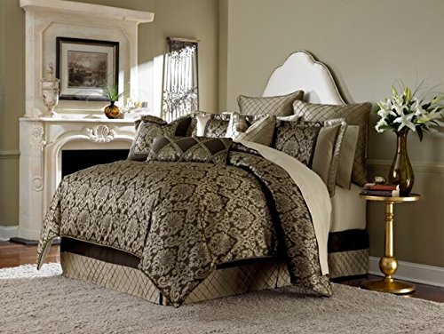 """Michael Amini 10 Piece Imperial Comforter Set, King, Gold/Brown"""