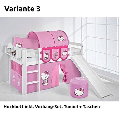 Hochbett Spielbett JELLE Hello Kitty Rosa mit Rutsche und Vorhang, weiß, Variante 3