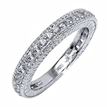 buy 0.48 Ct White Vs Created Sapphire 925 Sterling Silver Wedding Band Ring