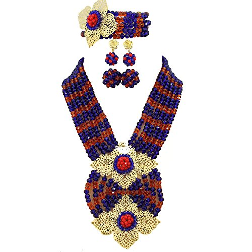 Africanbeads Royal Blue Red African Beads Jewelry Set,African Costume Jewelry Set,Nigerian Wedding Jewelry Set (Ab0020)