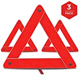 Emergency Warning Triangle by mAutoTM, Foldable Reflective Safety Warning Sign, Roadside Hazard Triangle Symbol Warning Sign w/Secure Base, Early Warning Road Safety Triangle 3 Pack