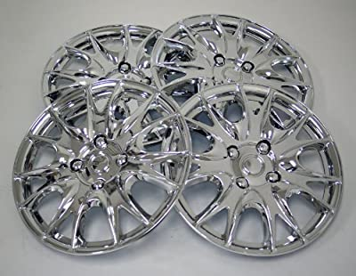 TuningPros WSC-533C15 Chrome Hubcaps Wheel Skin Cover 15-Inches Silver Set of 4
