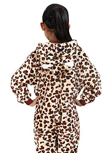GILLBRO Bambini Unisex Pigiama Kigurumi Cosplay Costume per regalo di natale, Leopardo Orso D 95 cm