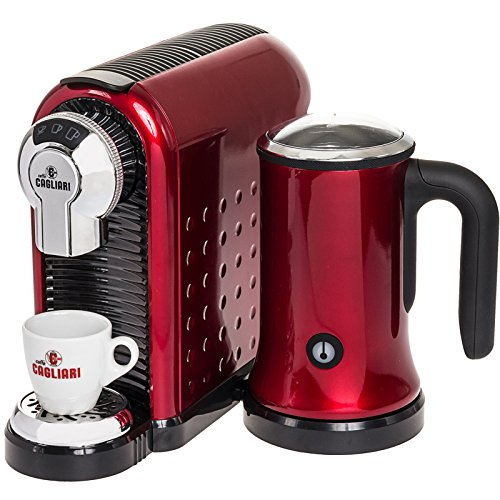 Check Out This Caffe Cagliari Carina Italian Coffee Espresso Machine w/ Milk Frother (Red)