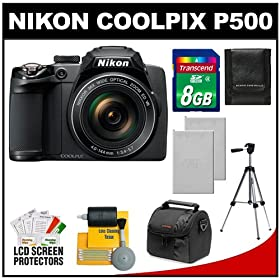 Nikon Coolpix P500 12.1 MP Digital Camera (Black) with 8GB Card + (2) Batteries + Case + Tripod + Cleaning Kit