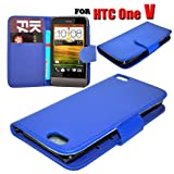HTC One V Various Colour Smart Flip Wallet Pu Leather Phone Case Cover by eFeel (Blue)
