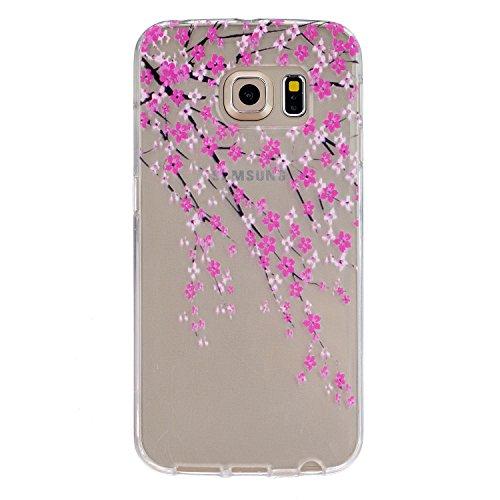 Ecoway Schutzhülle / Cover / Case Bunte Muster Weich TPU Handy Hülle für Samsung Galaxy S6 edge - Pfirsichblüte