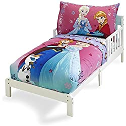 Frozen Bedding Set 4 Piece Girl Toddler Bed Set Anna Elsa Olaf Quilt Pillowcase Flat Sheet Fitted Sheet