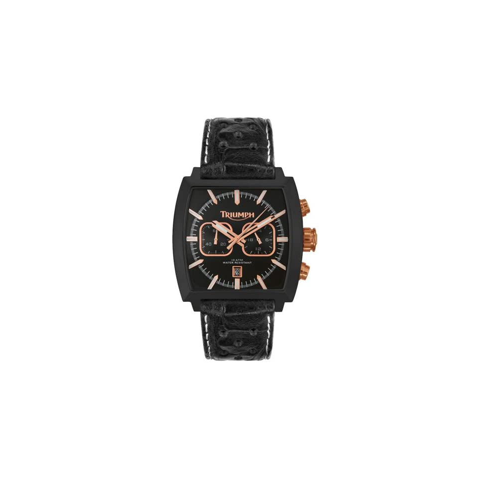 Triumph Motorcycles Mens 3025 07 Tiger Chronograph Leather Strap Watch