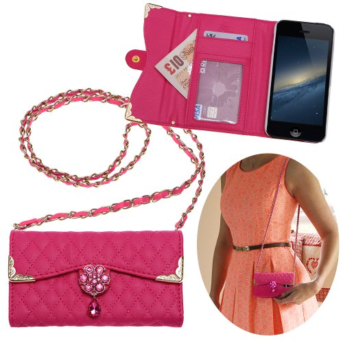 Xtra-Funky Exclusive Luxury Faux Leather Quilted Handbag Purse Style Case With Carry Strap And Beautifully Decorated Crystal Flower For Iphone 5 / 5S - Hot Pink (Includes A Mini Stylus And Lcd Screen Protector Film)