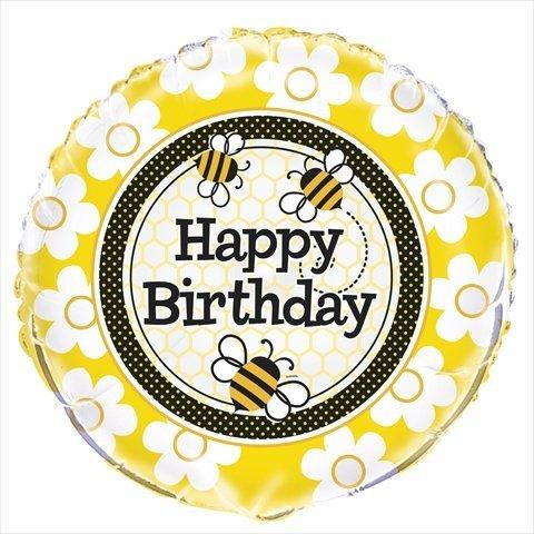 """Honey Bee Party Happy Birthday 18"""" Foil Balloon"""