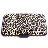 Estuche HDE de alumino para tarjetas de crédito y usar como billetara, con proteccion bloqueo RFID, estampado de leopardo