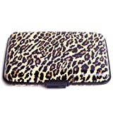 HDE Aluminum Travel Wallet Credit Card Case with RFID Blocking Protection (Leopard Print)