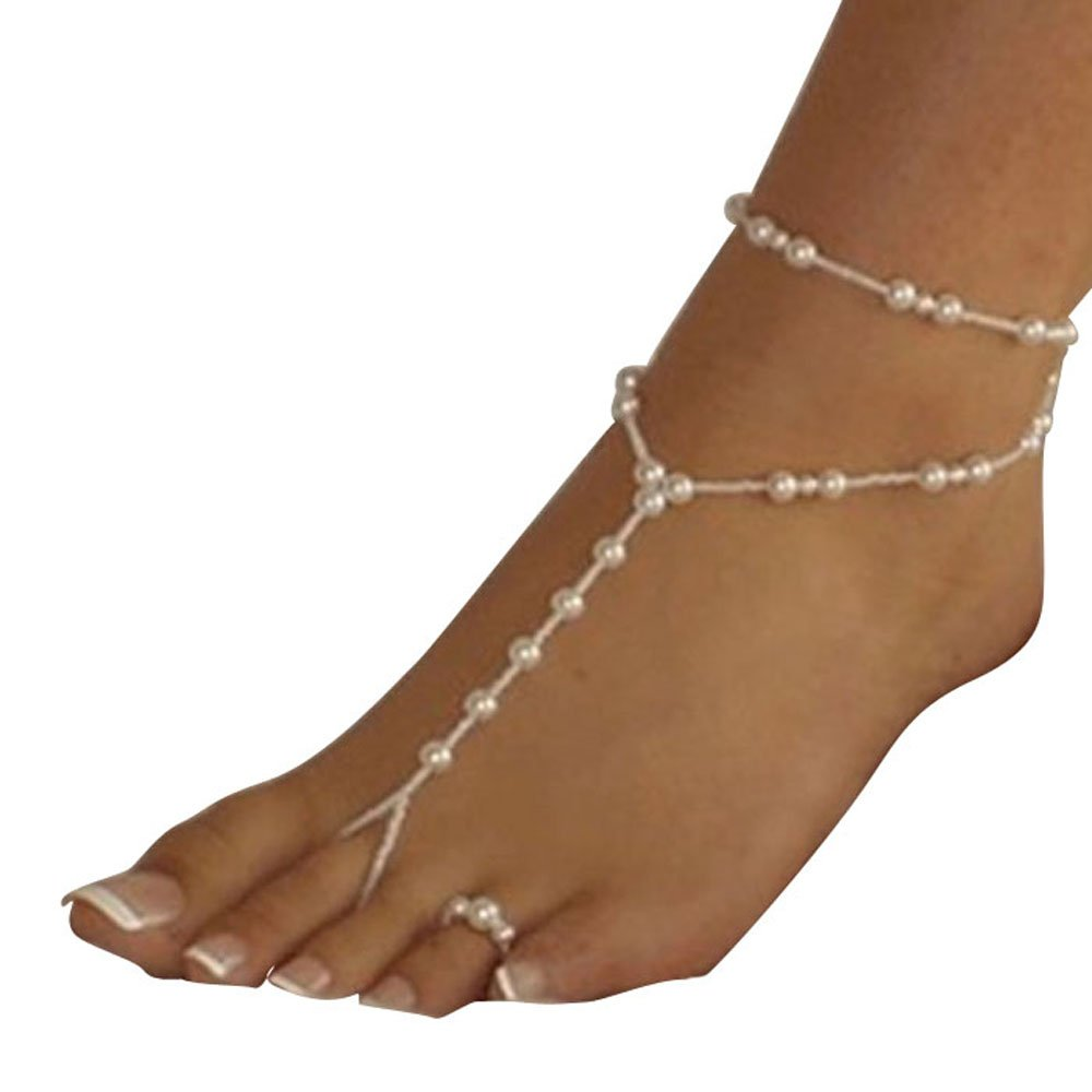 Bestpriceam (TM) Womens Beach Imitation Pearl Barefoot Sandal Foot Jewelry Anklet Chain